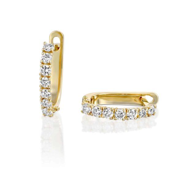 עגילי יהלומים משובצים 0.75 קראט - זהב