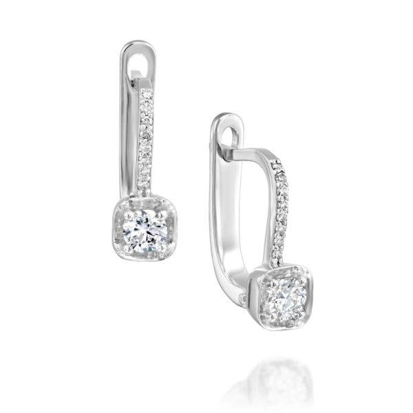 עגילי יהלומים תלויים משובצים - זהב לבן