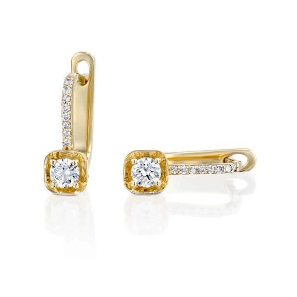 עגילי יהלומים תלויים משובצים זהב