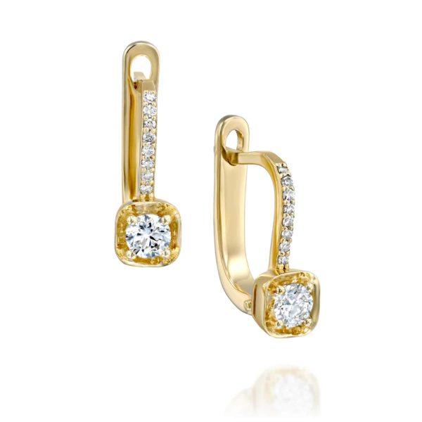 עגילי יהלומים תלויים משובצים