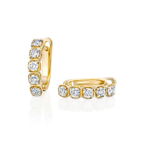 עגילי יהלומים 1.25 קראט - זהב