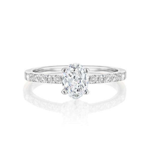 טבעת אירוסין אובל 1.10 קראט - זהב לבן - פרונט