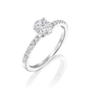 טבעת אירוסין אובל 1.10 קראט - זהב לבן