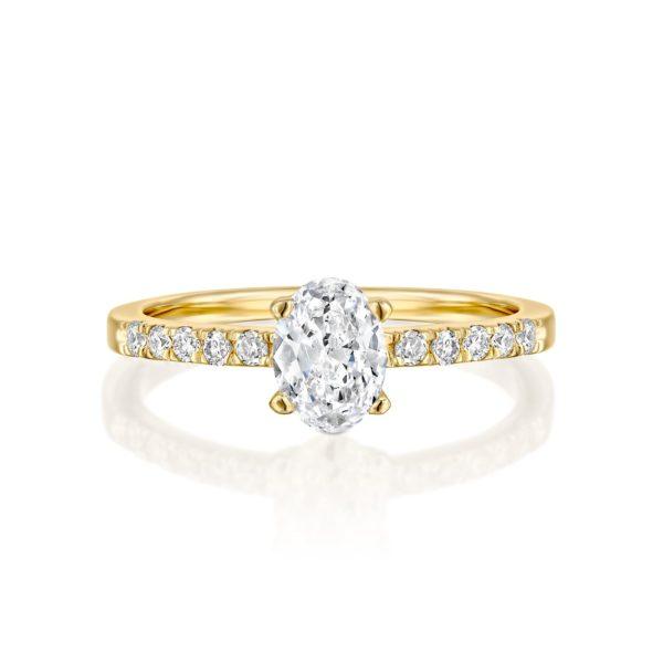 טבעת אירוסין אובל 1.10 קראט - זהב - פרונט