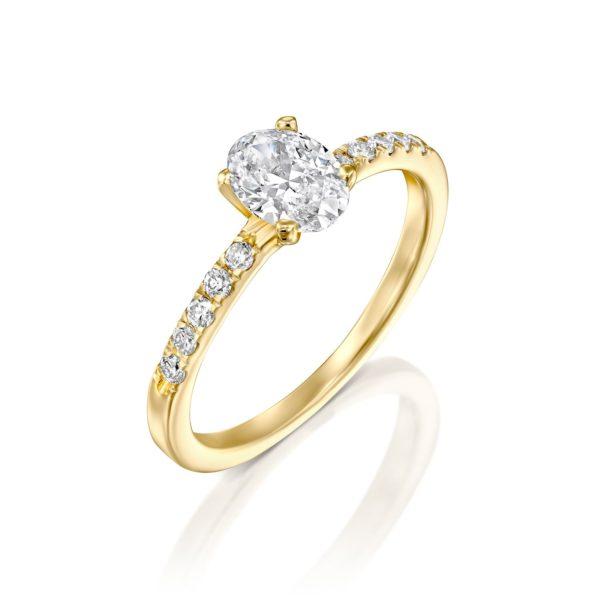 טבעת אירוסין אובל 1.10 קראט - זהב