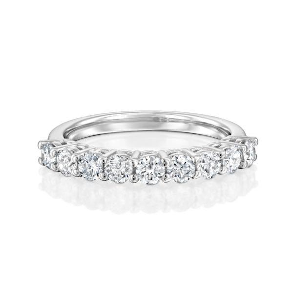טבעת שורת יהלומים 0.85 קראט - זהב לבן - פרונט