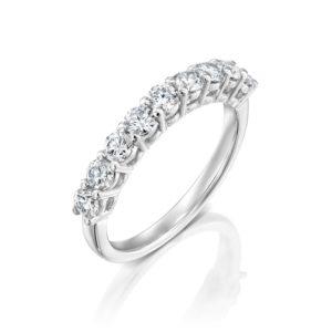 טבעת שורת יהלומים 0.85 קראט - זהב לבן
