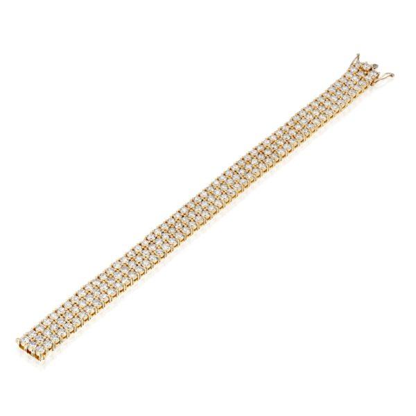 צמיד יהלומים 3 שורות במשקל כ-25 קראט - זהב - פתוח