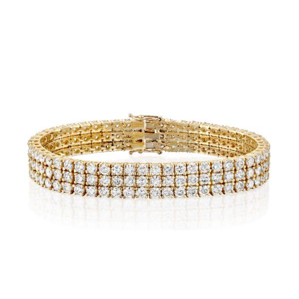 צמיד יהלומים 3 שורות במשקל כ-25 קראט - זהב