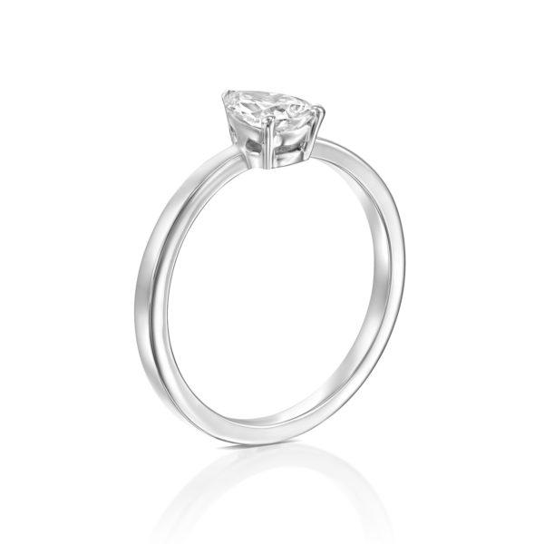 טבעת יהלום טיפה - בריטני 0.60 קראט - זהב לבן עומדת