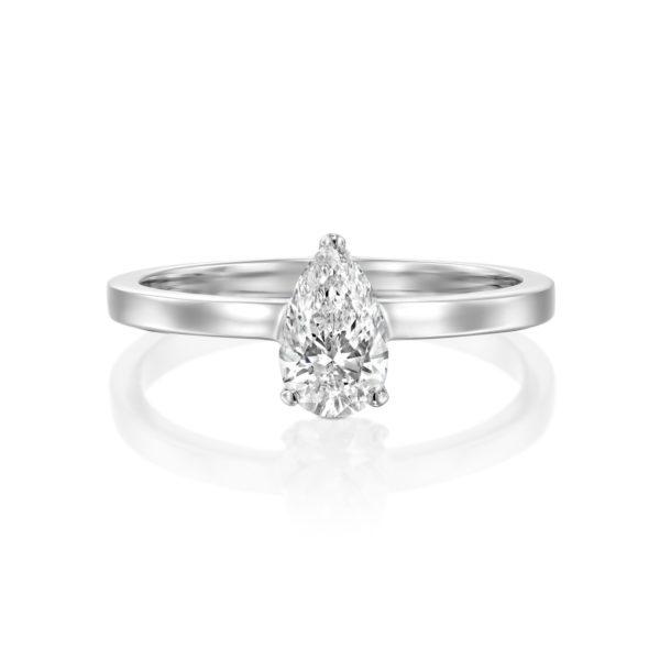 טבעת יהלום טיפה - בריטני 0.60 קראט - זהב לבן - פרונט