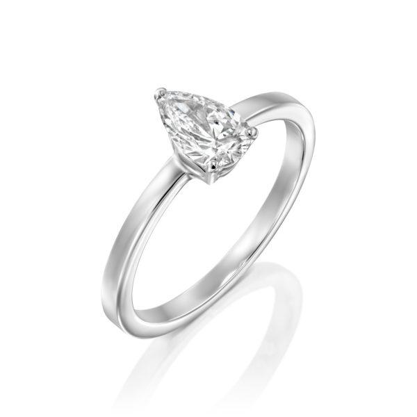 טבעת יהלום טיפה - בריטני 0.60 קראט - זהב לבן