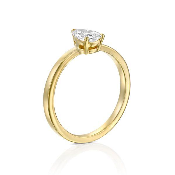 טבעת יהלום טיפה - בריטני 0.60 קראט - זהב - עומדת