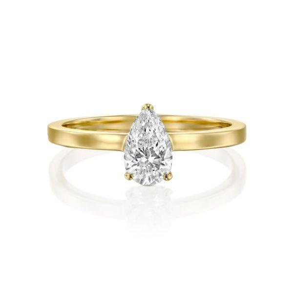 טבעת יהלום טיפה - בריטני 0.60 קראט - זהב - פרונט