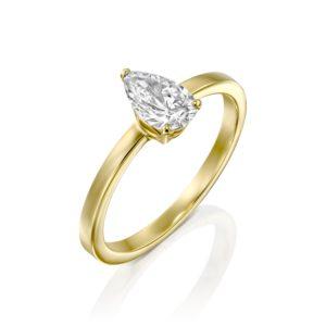 טבעת יהלום טיפה - בריטני 0.60 קראט - זהב