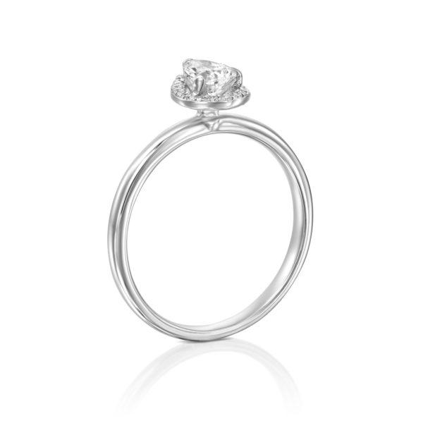 טבעת יהלומים רוז 0.50 קראט - היילו טיפה - זהב לבן מיושרת