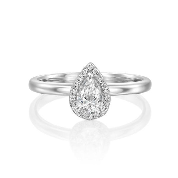 טבעת יהלומים רוז 0.50 קראט - היילו טיפה - זהב לבן - פרונט