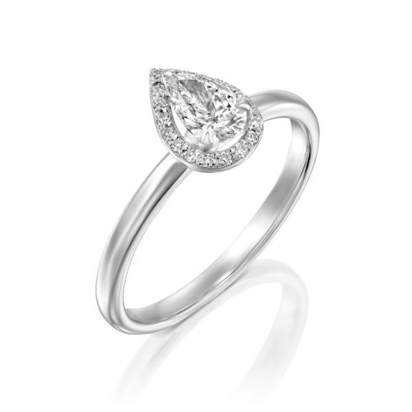 טבעת יהלומים רוז 0.50 קראט - היילו טיפה - זהב לבן