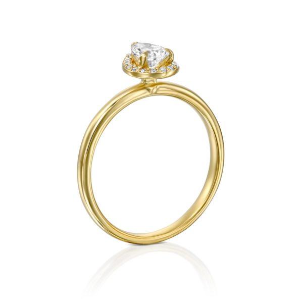 טבעת יהלומים רוז 0.50 קראט - היילו טיפה - זהב - מיושרת