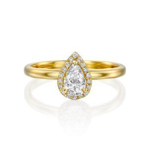 טבעת יהלומים רוז 0.50 קראט - היילו טיפה - זהב - פרונט