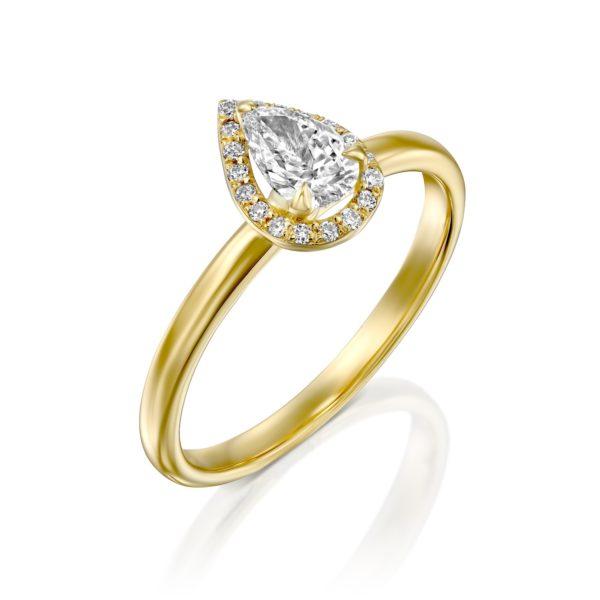 טבעת יהלומים רוז 0.50 קראט - היילו טיפה - זהב