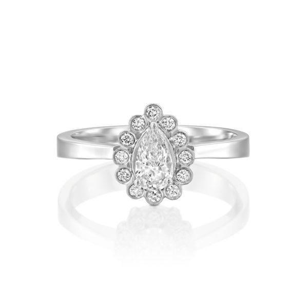 טבעת אירוסין נטלי 0.70 קראט - זהב לבן - 1