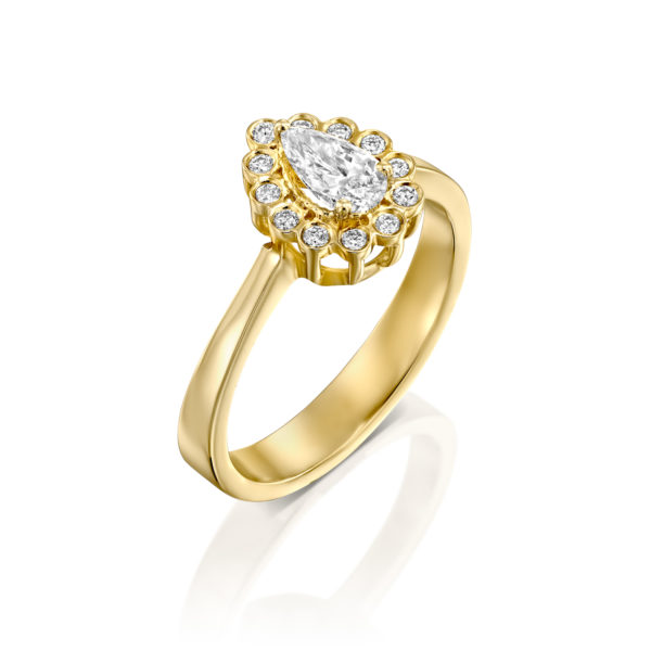 טבעת אירוסין נטלי 0.70 קראט - זהב צהוב - ראשי