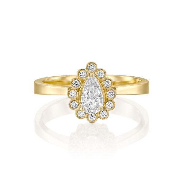 טבעת אירוסין נטלי 0.70 קראט - זהב צהוב - 1