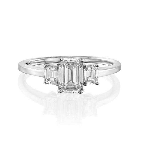טבעת יהלומים אמרלד 1.5 קראט - זהב לבן - 1