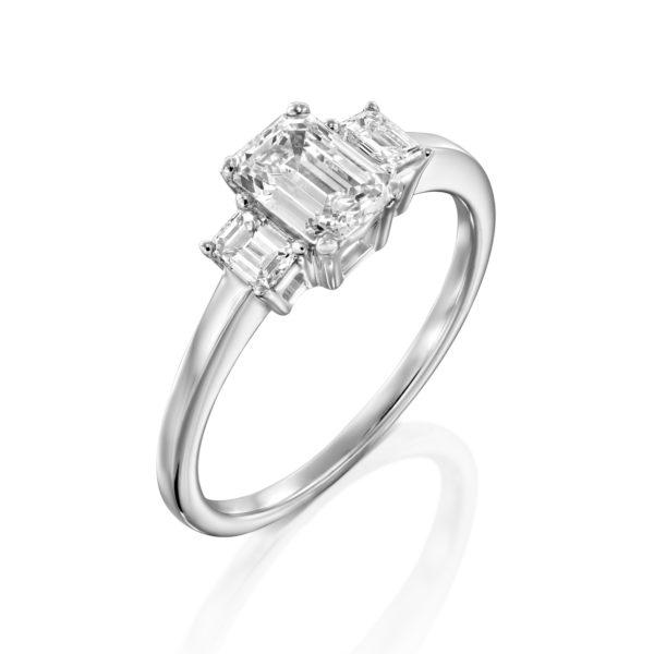 טבעת יהלומים אמרלד 1.5 קראט - זהב לבן - 2