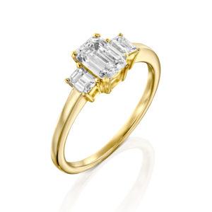 טבעת יהלומים אמרלד 1.5 קראט - זהב צהוב - 1