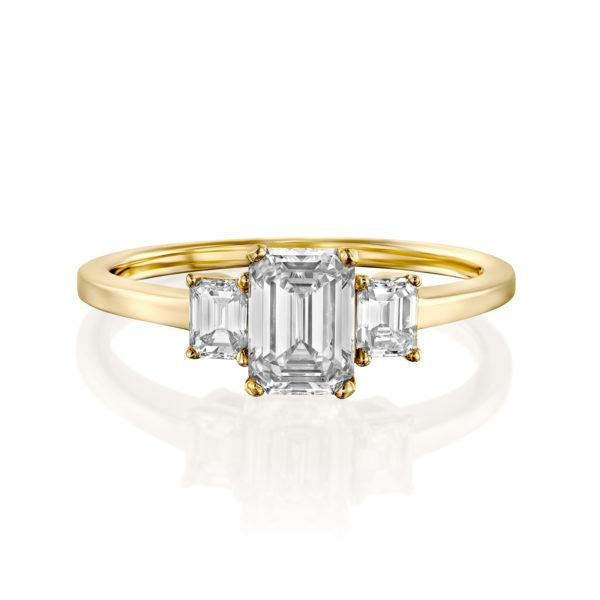 טבעת יהלומים אמרלד 1.5 קראט - זהב צהוב - 3